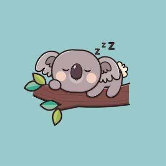 Illustration de mascotte kawaii mignon animal endormi koala icône
