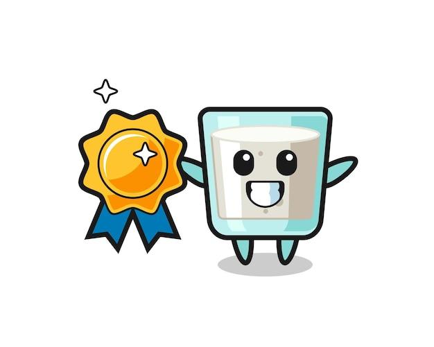 Illustration de mascotte de lait tenant un badge doré, design de style mignon pour t-shirt, autocollant, élément de logo