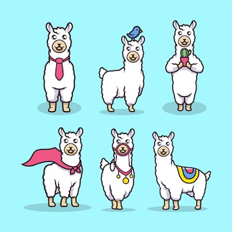 Illustration de mascotte de lama mignon