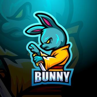 Illustration de mascotte de lapin ninja