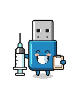Illustration de mascotte de lecteur flash usb en tant que médecin, design de style mignon pour t-shirt, autocollant, élément de logo
