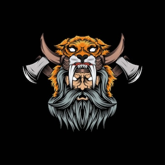 Illustration de mascotte de lion viking tête