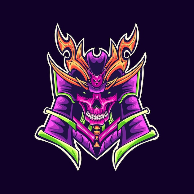 Illustration de mascotte de logo de crâne de samouraï