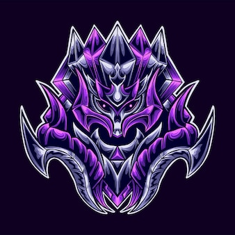 Illustration de mascotte de logo de guerrier démon de mort