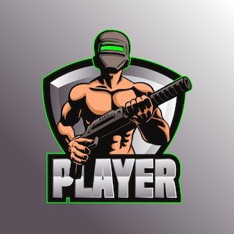 Illustration de mascotte de logo pubg de jeu
