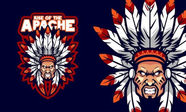 Illustration de mascotte de logo de sports de chef d'apache en colère