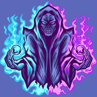 Illustration de mascotte de magicien de crâne