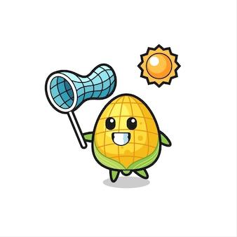 L'illustration de la mascotte de maïs attrape un papillon, un design de style mignon pour un t-shirt, un autocollant, un élément de logo