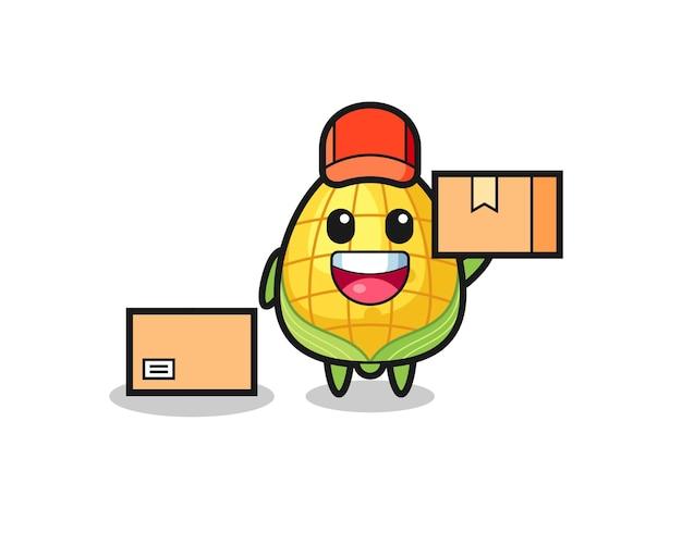 Illustration de mascotte de maïs comme courrier, conception de style mignon pour t-shirt, autocollant, élément de logo