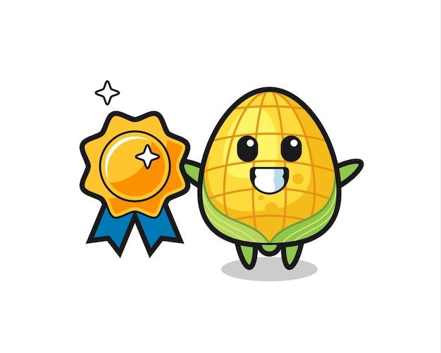 Illustration de mascotte de maïs tenant un badge doré, design de style mignon pour t-shirt, autocollant, élément de logo