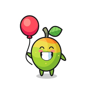 L'illustration de mascotte de mangue joue au ballon, design de style mignon pour t-shirt, autocollant, élément de logo