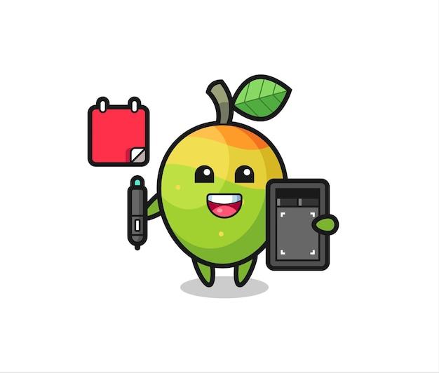 Illustration de la mascotte de mangue en tant que graphiste, design de style mignon pour t-shirt, autocollant, élément de logo