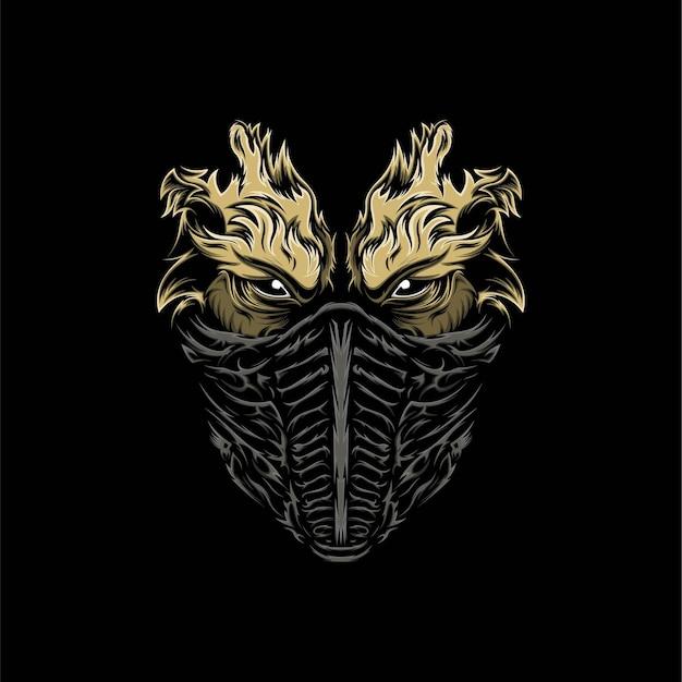 Illustration de mascotte de masque de diable tête