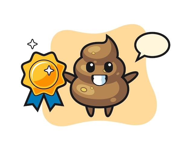 Illustration de mascotte de merde tenant un badge doré, design de style mignon pour t-shirt, autocollant, élément de logo