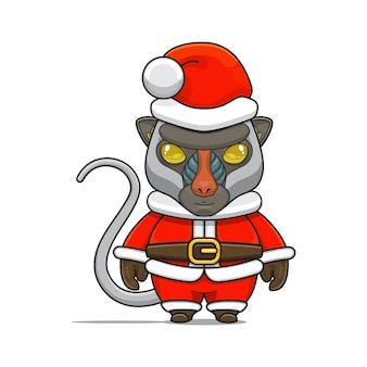 Illustration de la mascotte mignonne de babouin avec le costume du père noël pour noël