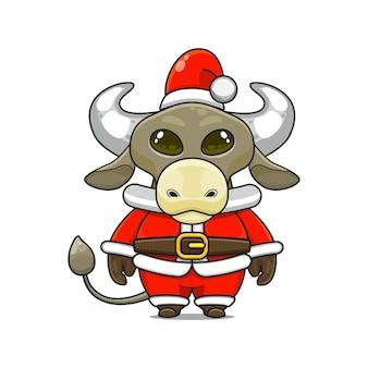 Illustration de la mascotte mignonne de buffle avec le costume de père noël pour noël