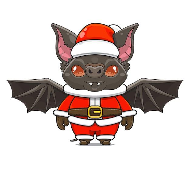 Illustration de la mascotte mignonne de chauve-souris portant l'animation de chauve-souris animale de dessin animé de costume de père noël