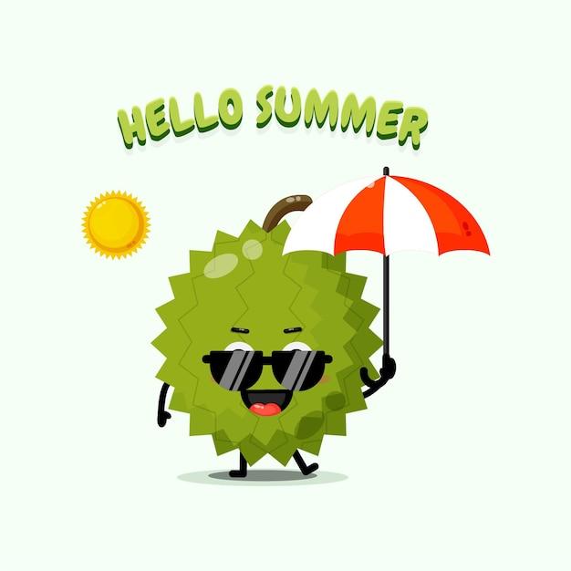 Illustration de la mascotte mignonne de durian portant un parapluie avec des voeux d'été
