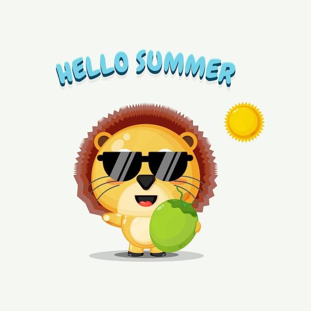 Illustration de la mascotte mignonne de lion portant la noix de coco avec des salutations d'été