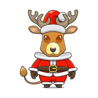 Illustration de la mascotte mignonne de renne avec le costume de père noël pour noël