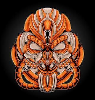 Illustration de mascotte monstre mecha