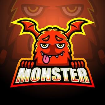 Illustration de mascotte monstre orange