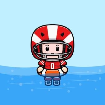 Illustration de mascotte de natation de joueur de football américain mignon