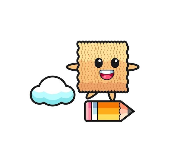 Illustration de mascotte de nouilles instantanées brutes à cheval sur un crayon géant, design de style mignon pour t-shirt, autocollant, élément de logo