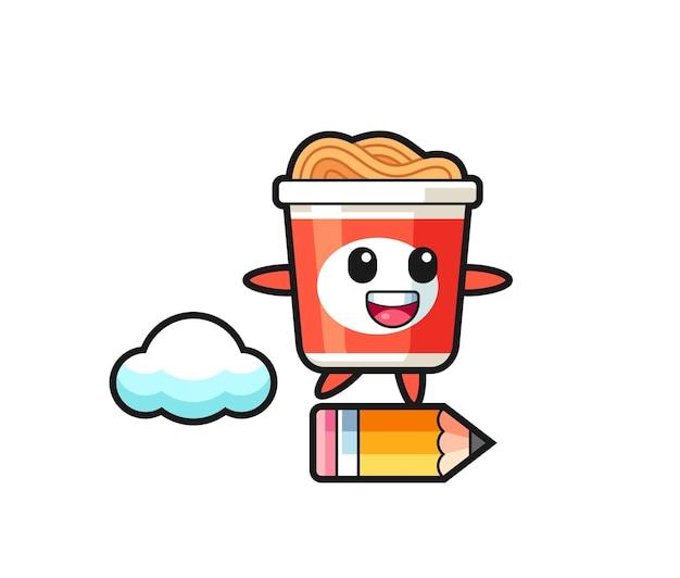 Illustration de mascotte de nouilles instantanées à cheval sur un crayon géant, design de style mignon pour t-shirt, autocollant, élément de logo