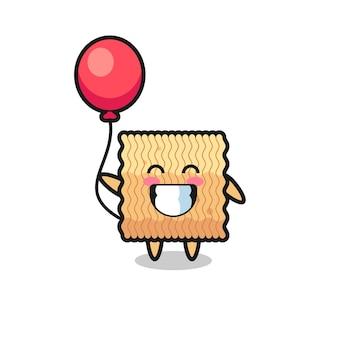 L'illustration de mascotte de nouilles instantanées crues joue au ballon, design de style mignon pour t-shirt, autocollant, élément de logo