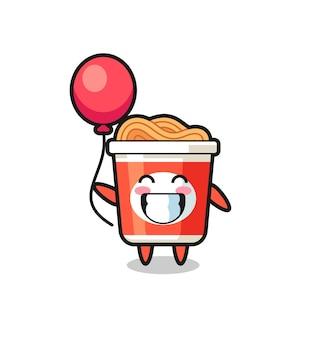 L'illustration de mascotte de nouilles instantanées joue au ballon, design de style mignon pour t-shirt, autocollant, élément de logo