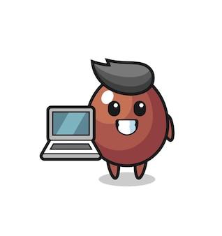Illustration de mascotte d'oeuf en chocolat avec un ordinateur portable, design mignon