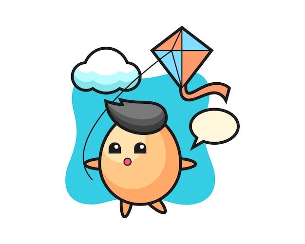 Illustration de mascotte d'oeuf joue au cerf-volant, style mignon pour t-shirt, autocollant, élément de logo