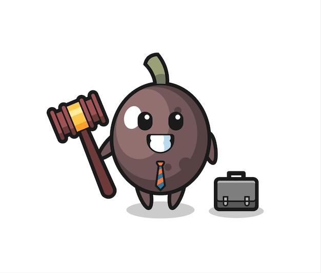 Illustration de la mascotte d'olive noire en tant qu'avocat, design de style mignon pour t-shirt, autocollant, élément de logo