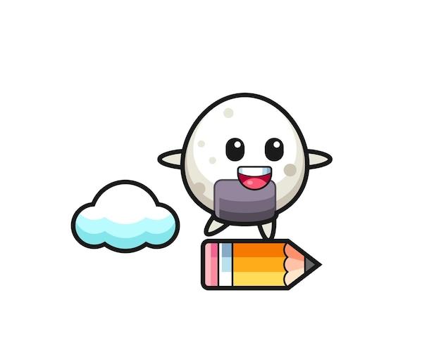 Illustration de mascotte onigiri à cheval sur un crayon géant, design de style mignon pour t-shirt, autocollant, élément de logo