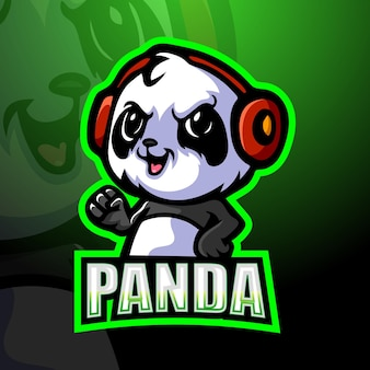 Illustration de mascotte de panda gamer