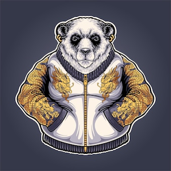 Illustration de mascotte de panda yakuza