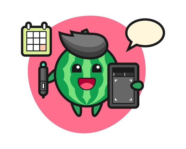Illustration de la mascotte de la pastèque en tant que graphiste