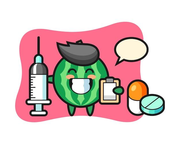 Illustration mascotte de pastèque en tant que médecin