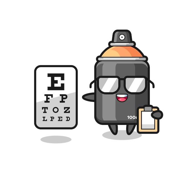 Illustration de la mascotte de la peinture en aérosol en tant qu'ophtalmologie, design de style mignon pour t-shirt, autocollant, élément de logo
