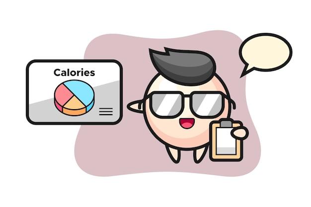 Illustration de la mascotte de perle en tant que diététiste