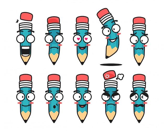 Illustration de mascotte de personnage de crayon avec ensemble d'émoticônes d'émoticônes d'expression du visage
