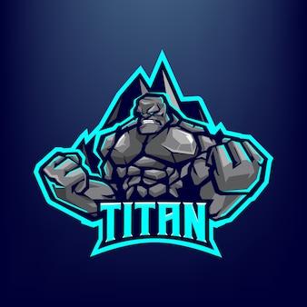 Illustration de mascotte de pierre golem pour les sports et esports logo isolé sur fond bleu foncé