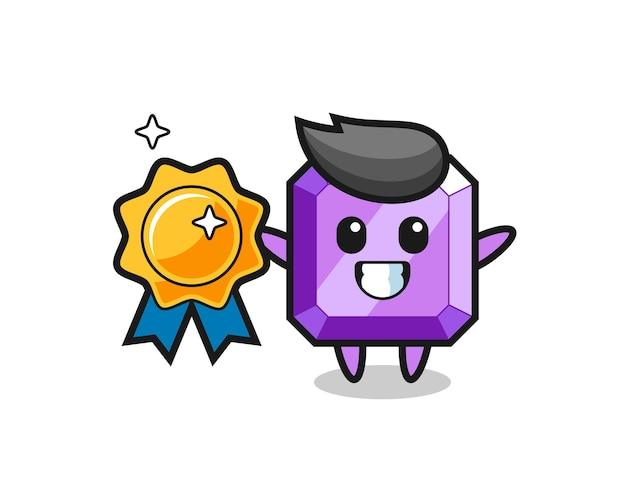 Illustration de mascotte de pierres précieuses violettes tenant un badge doré, design de style mignon pour t-shirt, autocollant, élément de logo