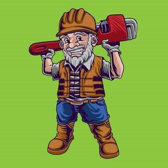Illustration de mascotte plombier