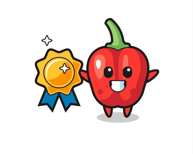 Illustration de mascotte de poivron rouge tenant un badge doré