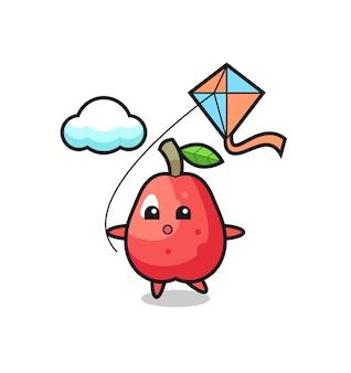 L'illustration de mascotte de pomme d'eau joue au cerf-volant, design de style mignon pour t-shirt, autocollant, élément de logo