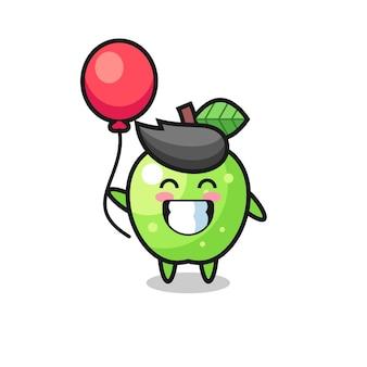 L'illustration de la mascotte de la pomme verte joue au ballon, design de style mignon pour t-shirt, autocollant, élément de logo