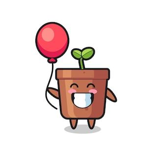 L'illustration de mascotte de pot de plante joue au ballon, design de style mignon pour t-shirt, autocollant, élément de logo