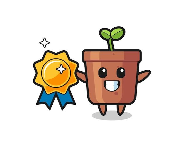 Illustration de mascotte de pot de plante tenant un badge doré, design de style mignon pour t-shirt, autocollant, élément de logo